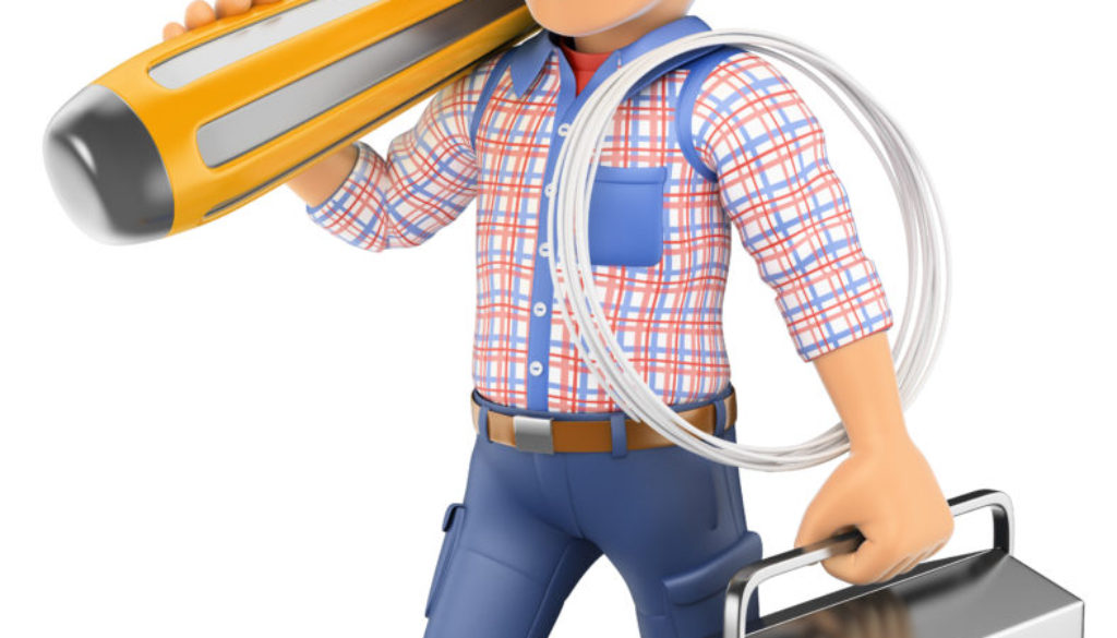 3D Electrician walking with a screwdriver and toolbox