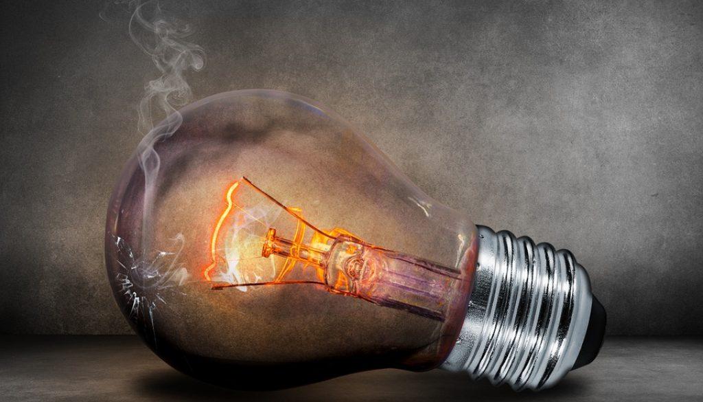overheated light bulb